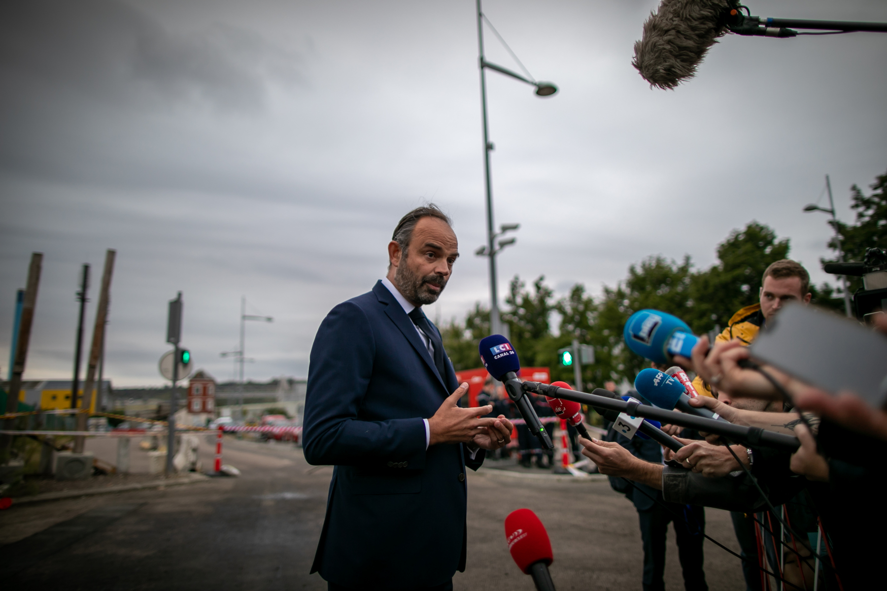 Prime Minister Edouard Philippe gives a press conference at the Lubrizol factory in Rouen, Normandy, on September 30, 2019.