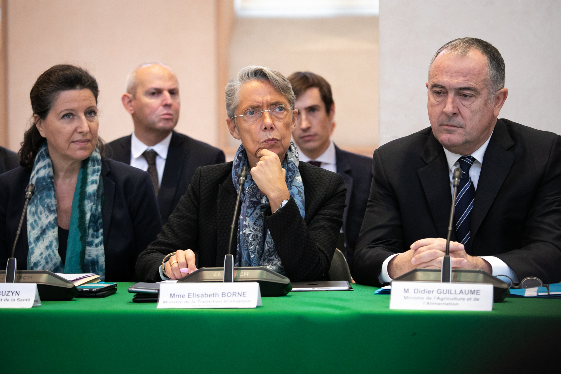 (From L) French Solidarity and Health Minister and hematologist professor Agnes Buzyn, French minister for Ecological and Solidarity Transition, Elisabeth Borne and French Agriculture Minister Didier Guillaume, attend a meeting to install a comity for transparency and communication followingthe fire of September 26 , 2019,  in Rouen, northwestern France, on October 12, 2019.